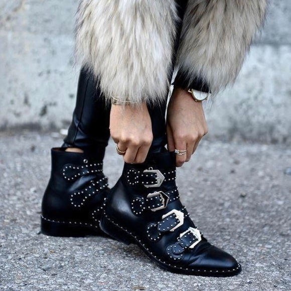 f42e9ded905 Givenchy Buckled Ankle Boots in Leather with Studs